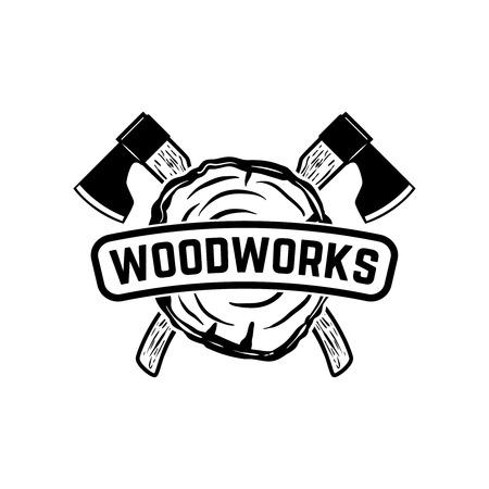 Woodworks. Emblem template with crossed lumberjack axes. Design element for logo, label, emblem, sign. Vector illustration Illustration