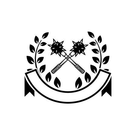Crossed maces vector illustration