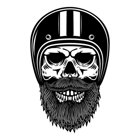 Illustration of bearded skull in a racer helmet.