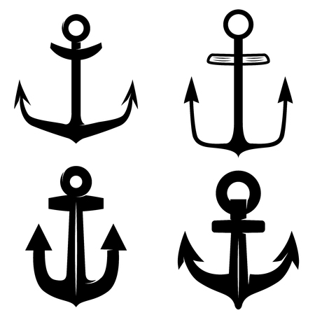 Set of icons of the anchors isolated on a white background.