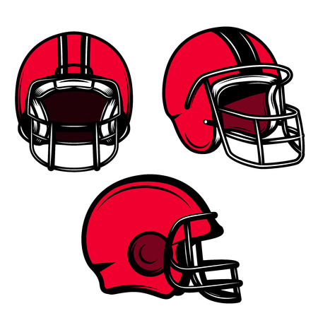 Set of american football helmets isolated on white background. Vector illustration
