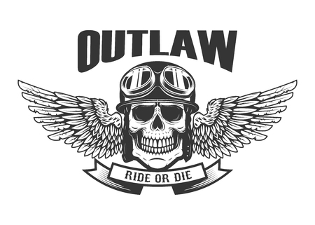 Outlaw. Ghetto warrior. Skull with wings and brass knuckles. Vector illustration