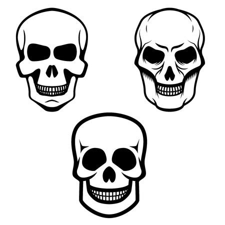 Set of skull icons isolated on white background. Vector illustration