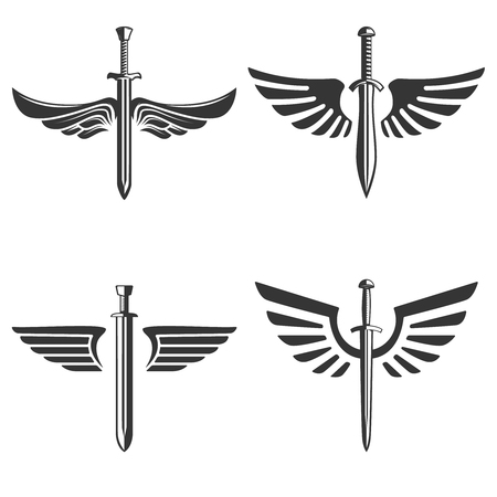 Set of emblems of swords and wings. Ilustração