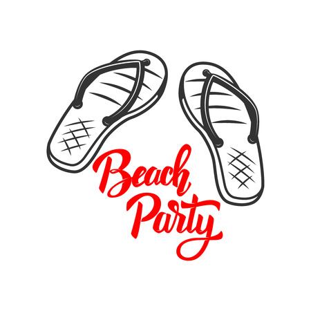 Beach party. Lettering phrase with flip-flops. Vector illustration
