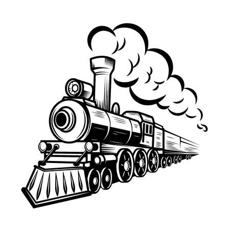 Ilustración de tren retro aislado sobre fondo blanco. Elemento de diseño para logotipo, etiqueta, emblema, signo. Ilustración vectorial Logos