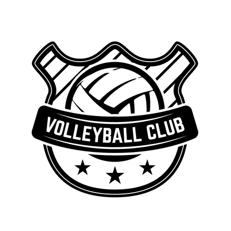 Emblem template with volleyball ball isolated on white background. Design element for logo, label, emblem, sign. Vector illustration Иллюстрация