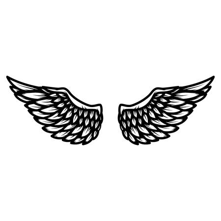 白い背景に隔離された翼。