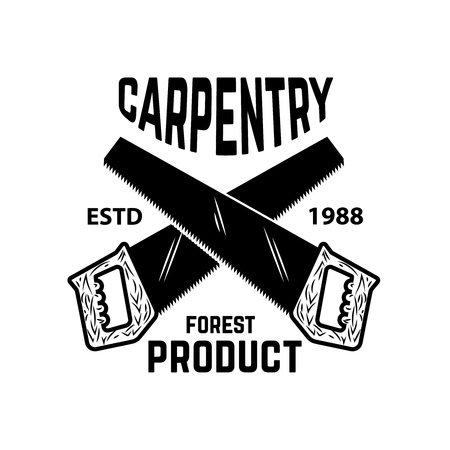 Carpentry. Emblem template with cutting wood and hand saw. Design element for logo, label, emblem, sign. Vector illustration