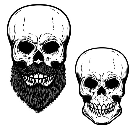 Bearded skulls isolated on a white background. Ilustrace