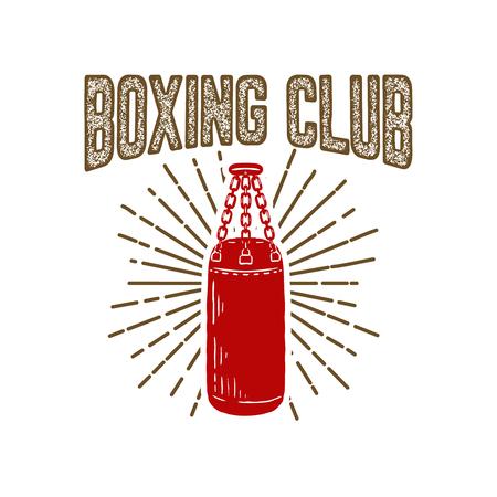 Club de boxe champion. Modèle d'emblème avec sac de boxe. Élément de design pour icône, étiquette, emblème, signe. Illustration vectorielle. Banque d'images - 98541754