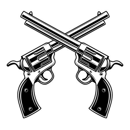 Emblem Vorlage mit gekreuzten Revolvern. Gestaltungselement für Symbol, Beschriftung, Emblem, Zeichen. Vektor-Illustration, Vektorgrafik