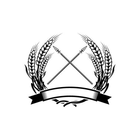 Emblem template with crossed lances. Design element for icon, label, emblem, sign. Vector illustration. Illustration