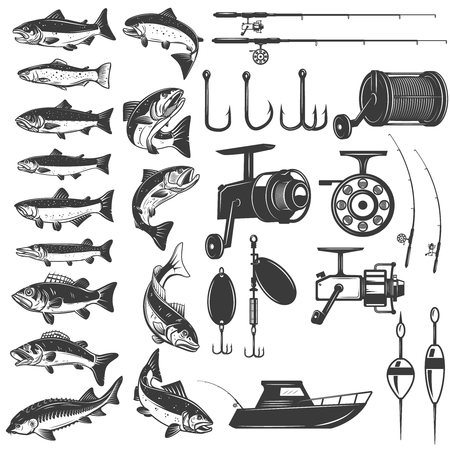 Set of fishing icons. Fish icons, fishing rods. Design element for icon, label, emblem, sign. Vector illustration.
