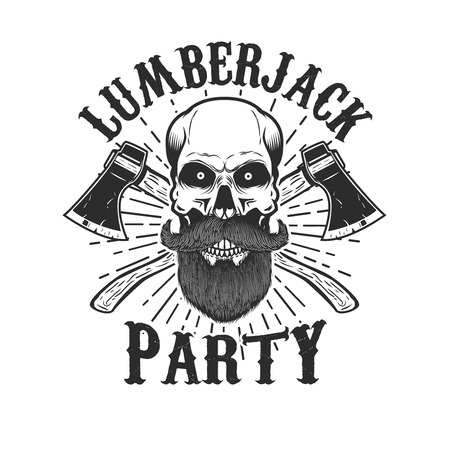 Lumberjack party. Bearded skull with crossed axes. Design element for icon, label, emblem, sign. Vector illustration.