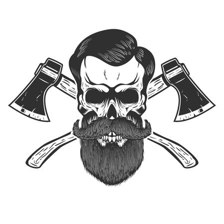 Lumberjack skull with crossed axes. Design element for emblem, sign, poster, t shirt. Vector illustration. Ilustração