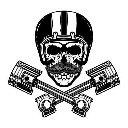 Racer skull with crossed pistons. Design element for emblem, sign, poster, t-shirt. Vector illustration.