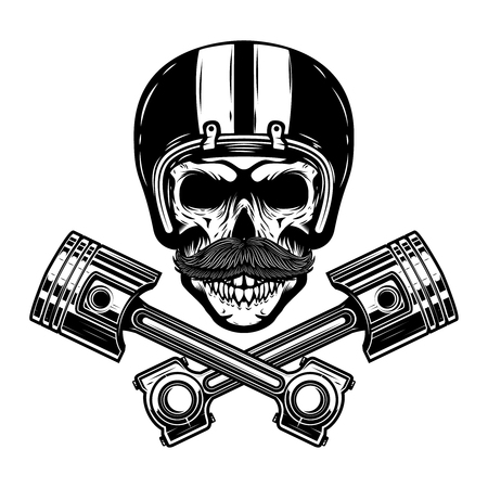 Racer skull with crossed pistons. Design element for emblem, sign, poster, t-shirt. Vector illustration.