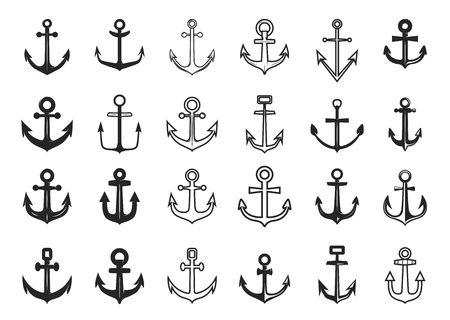 Big set of anchor icons. Design element for icon, label, emblem, sign. Vector illustration.