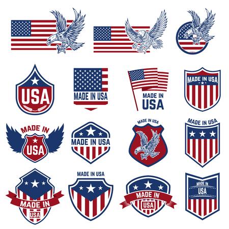Set of emblems with USA signs. Design elements for poster. card, sign. Vector illustration.