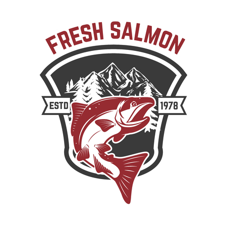 Salmon fishing. Salmon on background with mountains. Design element for icon, label, emblem, sign. Vector illustration. Illustration