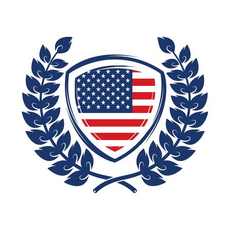 Emblema con il simbolo degli Stati Uniti. Elemento di design per poster, emblema, t-shirt. Illustrazione vettoriale Archivio Fotografico - 98607890