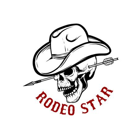Rodeo star. Skull with arrow in head. Design element for poster, card, t-shirt, emblem, sign. Vector illustration. Illustration