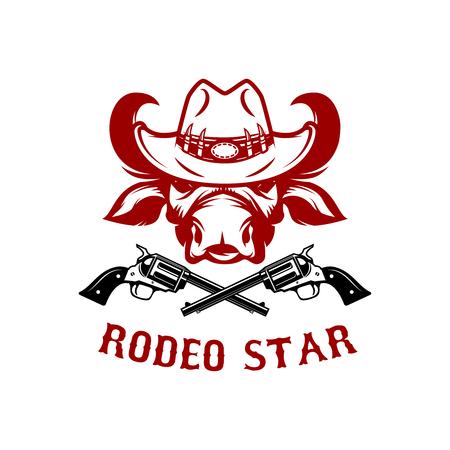 Rodeo star. Buffalo head in cowboy hat. Design element for poster, card, t shirt, emblem, sign. Vector illustration Illustration