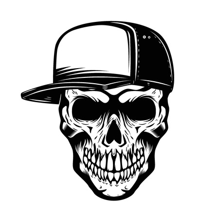 Skull in baseball hat isolated on white background. Design element for icon, label, emblem, sign. Vector illustration.