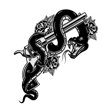 ヘビと拳銃。バイパー。ポスター、Tシャツ、カードのデザイン要素。ベクターの図。