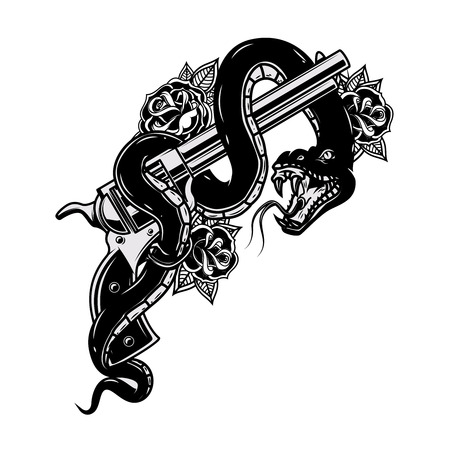 Handgun with snake. Viper. Design element for poster, t-shirt, card. Vector illustration.