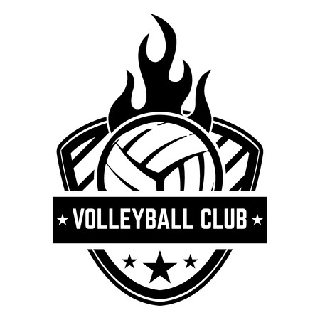 Emblem template with volleyball ball isolated on white background. Design element for icon, label, emblem, sign. Vector illustration.
