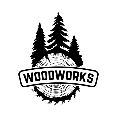 Wood works. Emblem template with cut wood. Design element for icon, label, emblem, sign. Vector illustration. Ilustração