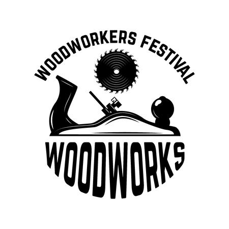 Wood works. Emblem template with carpenter jointer. Design element for icon, label, emblem, sign. Vector illustration.
