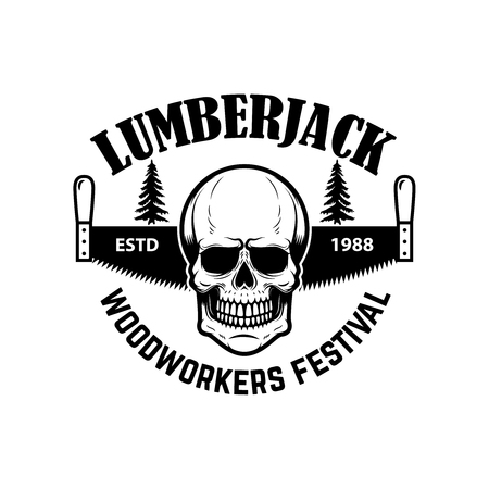 lumberjack. Emblem template with hand saw and skull. Design element for icon, label, emblem, sign. Vector illustration. Vettoriali
