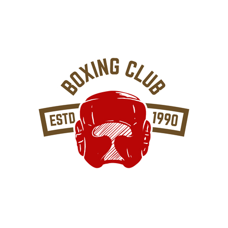 Champion boxing club. Emblem template with boxing helmet. Design element for icon, label, emblem, sign. Vector illustration.