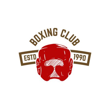 Champion club di boxe. Modello di emblema con casco da boxe. Elemento di design per icona, etichetta, emblema, segno. Illustrazione vettoriale Archivio Fotografico - 99129140