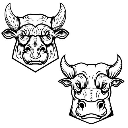 Bull heads illustrations isolated on white background.   Vector illustration