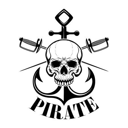 pirates. Emblem template with swords and pirate skull. Design element for logo, label, emblem, sign. Vector illustration