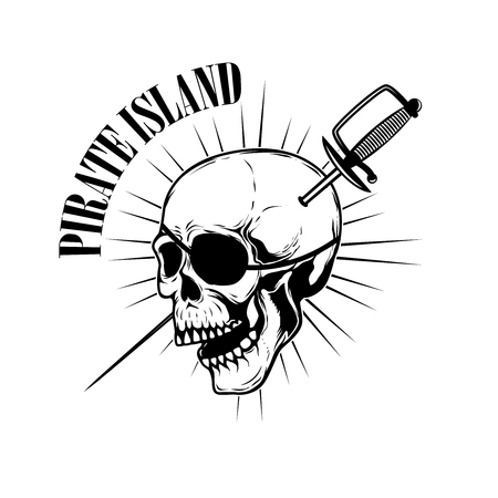 Emblem template with swords and pirate skull.