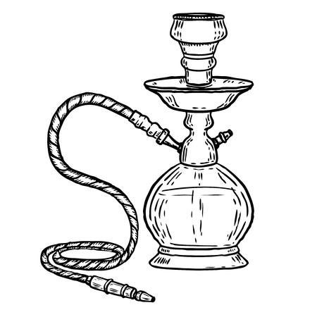 Hand drawn hookah illustration isolated on white background. Design element for logo, label, emblem, sign. Vector illustration