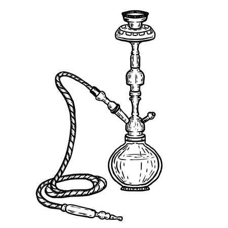 Hand drawn hookah illustration isolated on white background. Design element for logo, label, emblem, sign, poster, t shirt. Vector illustration