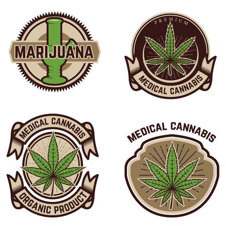 Set of vintage emblems with medical marijuana.