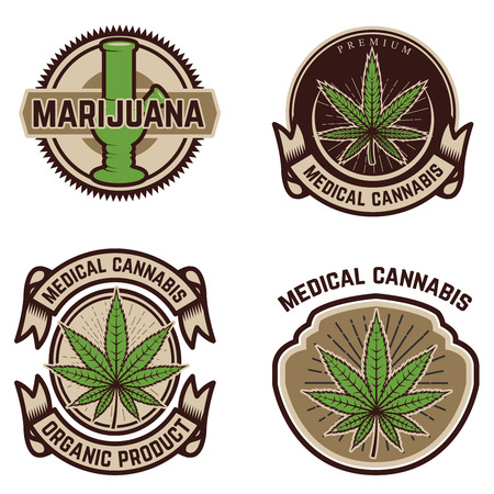 Set of vintage emblems with medical marijuana.