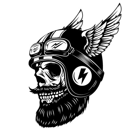 Skull in winged helmet isolated on white background.