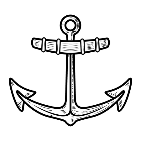 Anchor illustration isolated on white background. Design element for logo, label, emblem, sign. Vector illustration Archivio Fotografico - 103601933