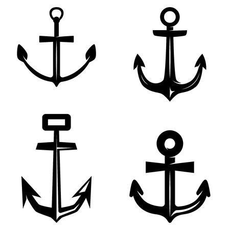 Set of anchor illustrations isolated on white background. Design element for logo, label, emblem, sign, poster, t shirt. Vector illustration Ilustração