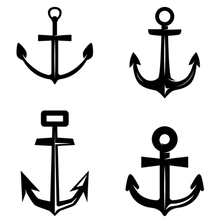 Set of anchor illustrations isolated on white background. Design element for logo, label, emblem, sign, poster, t shirt. Vector illustration Illustration