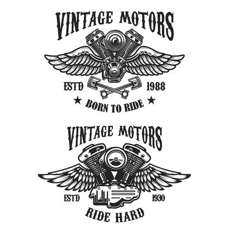 Set of emblems with vintage winged motors. Design element for logo, label, emblem, sign, poster, t shirt. Vector illustration