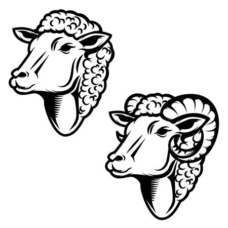 Ensemble d'illustration tête de mouton. Tête de bélier. Élément de design pour logo, étiquette, emblème, signe. Illustration vectorielle